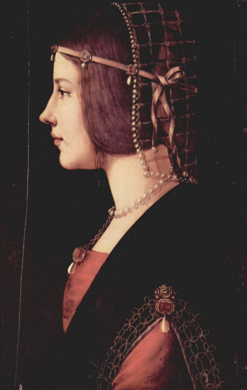 Masterpieces of unknown artists. Portrait of a young woman (probably Beatrice d'este)