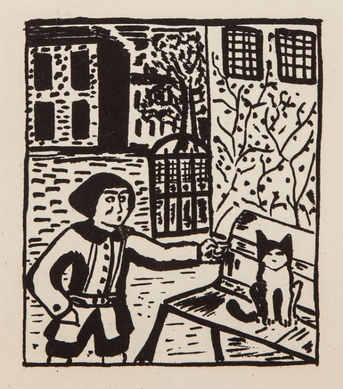 "Balthus (Balthasar Klossovsky de Rola). Cat on the bench. Series ""Mitsu"""