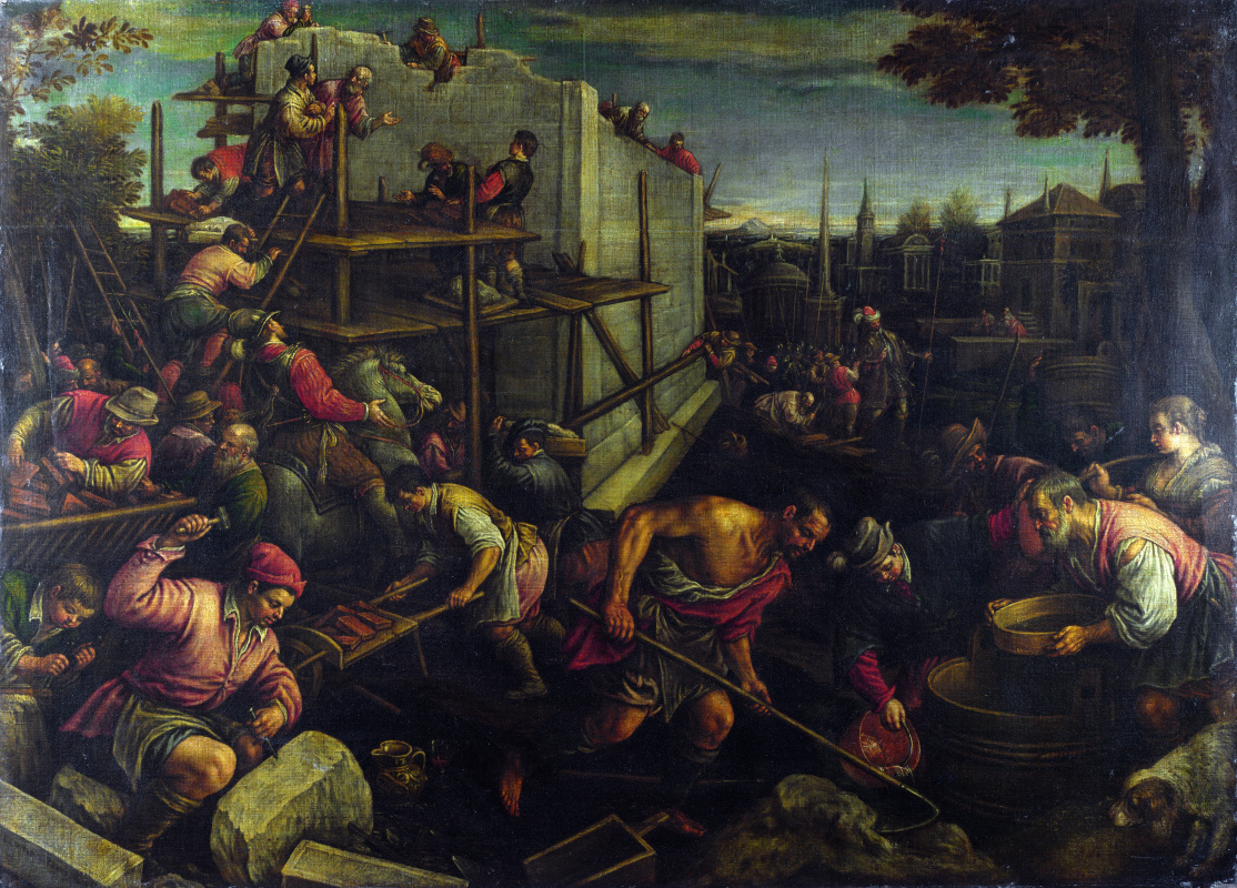 Leandro Bassano. The tower of Babel