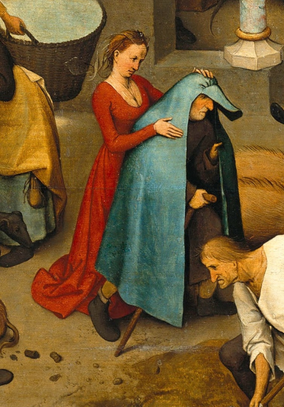 Pieter Bruegel The Elder. Flemish proverbs. Fragment: She puts on her husband a blue raincoat - she cheats on her husband