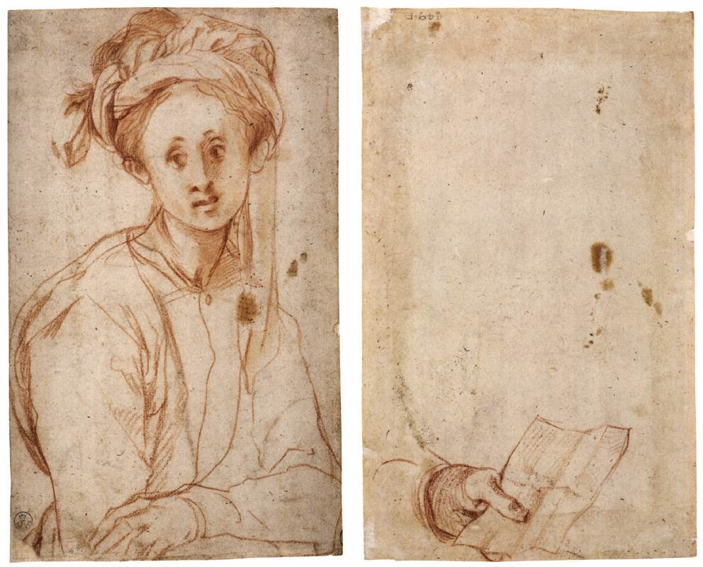 Jacopo Pontormo. Sketch of a man in a turban, sketch of a hand