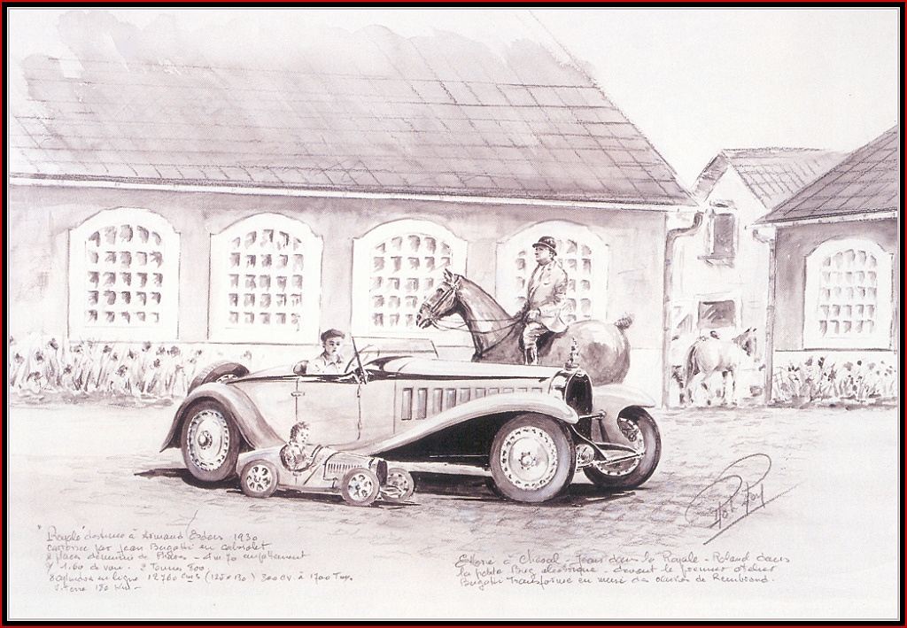 Roy Rob. The rider on the horse and the car