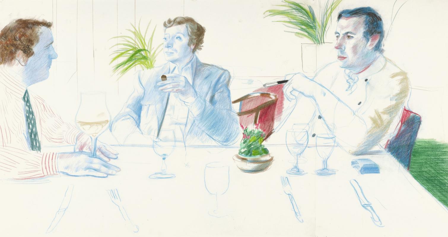 David Hockney. Peter Langan, Michael Caine and Richard Shepherd, Langan's Brasserie