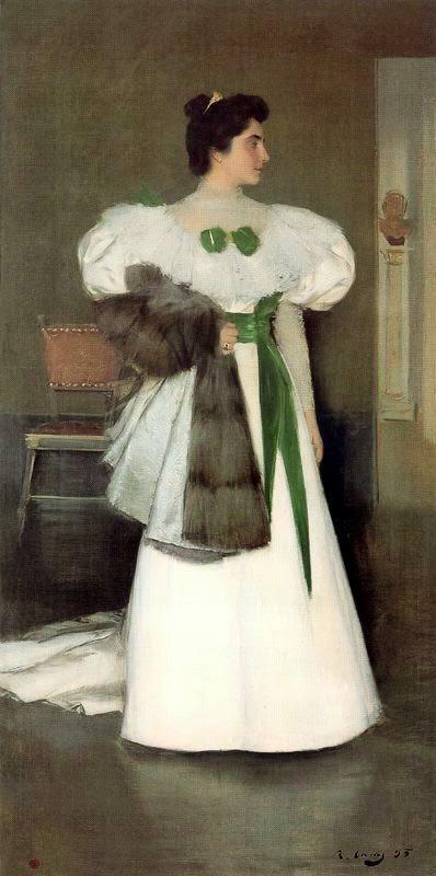 Рамон Касас Карбо. Портрет Элизы Касас в белом платье