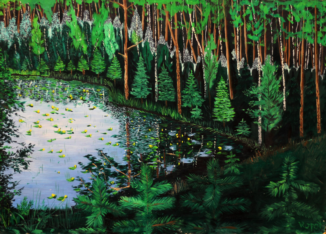 Vladimir Adamovich Ropot. Lake in the forest