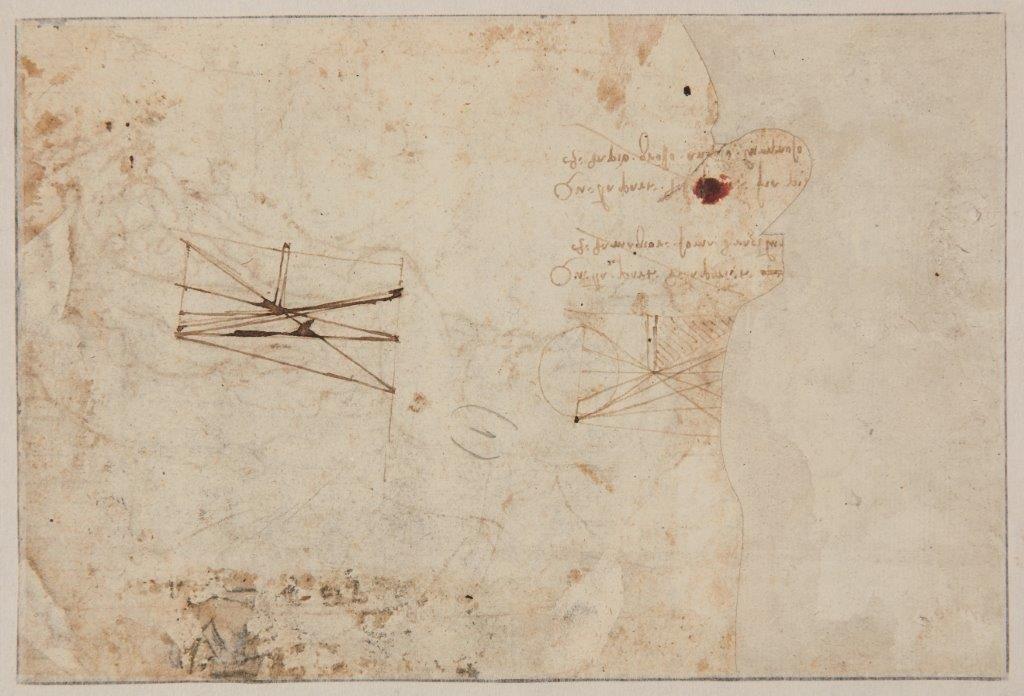 Леонардо да Винчи. Чертежи на обратной стороне эскиза «Святой Себастьян»