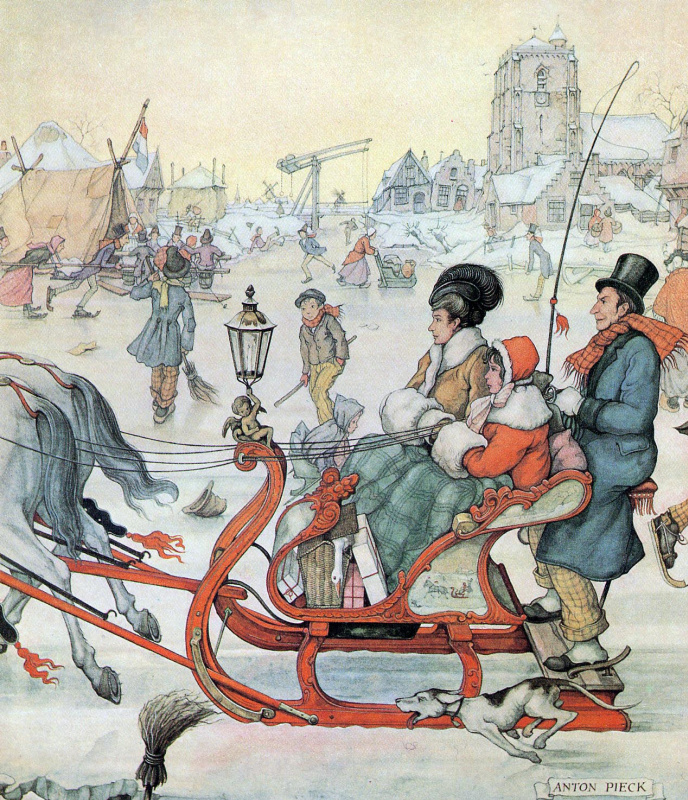 Anton Pieck. In the sleigh