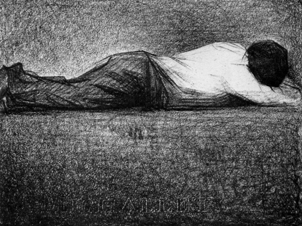 Жорж Сёра. Лежащий мужчина