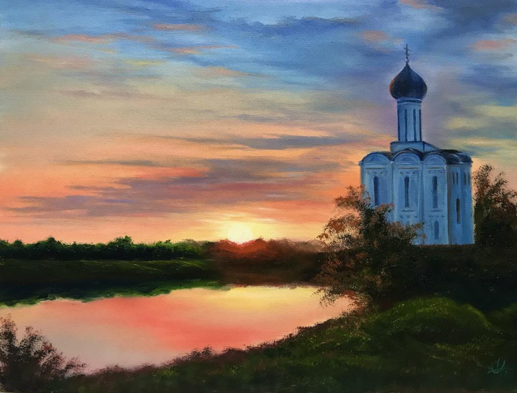 Svetlana Ivanova. Church of the Intercession on the Nerl. Dawn