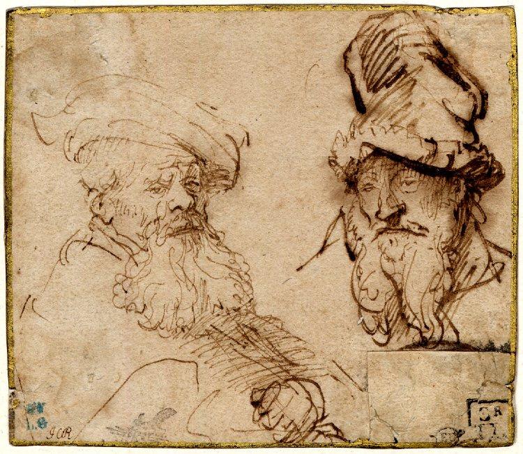 Rembrandt Harmenszoon van Rijn. Two studies of old men's heads