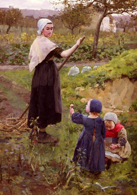 Джеймсон Миддлтон. Мать с дочерьми в огороде
