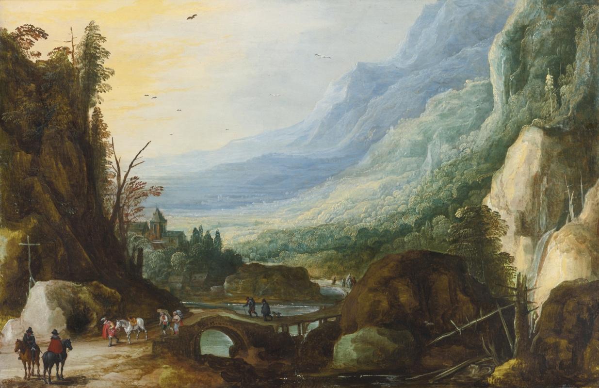 Ян Брейгель Старший. Гористый пейзаж с мостом через реку.  (совм с Йосом де Момпером Мл)