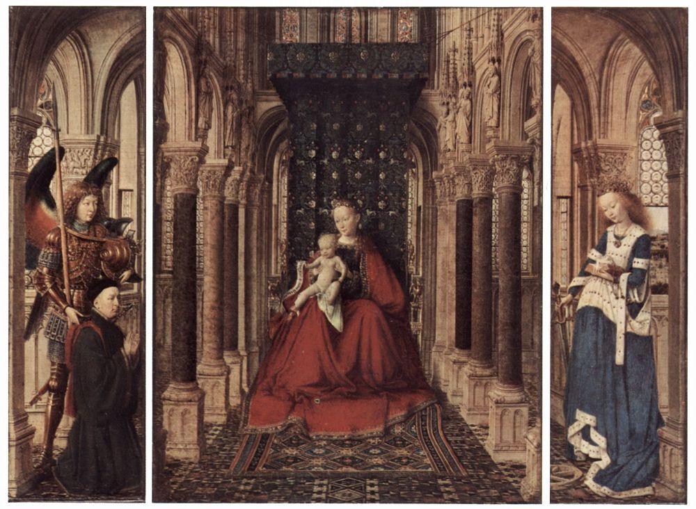 Ян ван Эйк. Алтарь Девы Марии, Дрезденский триптих, оборотная сторона створки, сцена: Благовещение