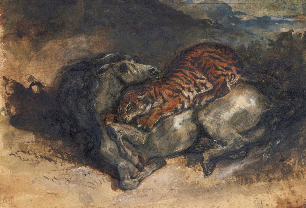 Eugene Delacroix. Tiger attacking a horse