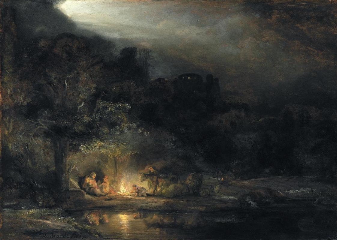 Рембрандт Харменс ван Рейн. Пейзаж с отдыхом на пути в Египет