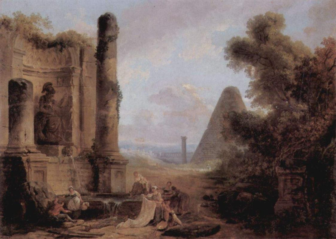 Гюбер Робер. Фантастический пейзаж с пирамидой и руинами храма