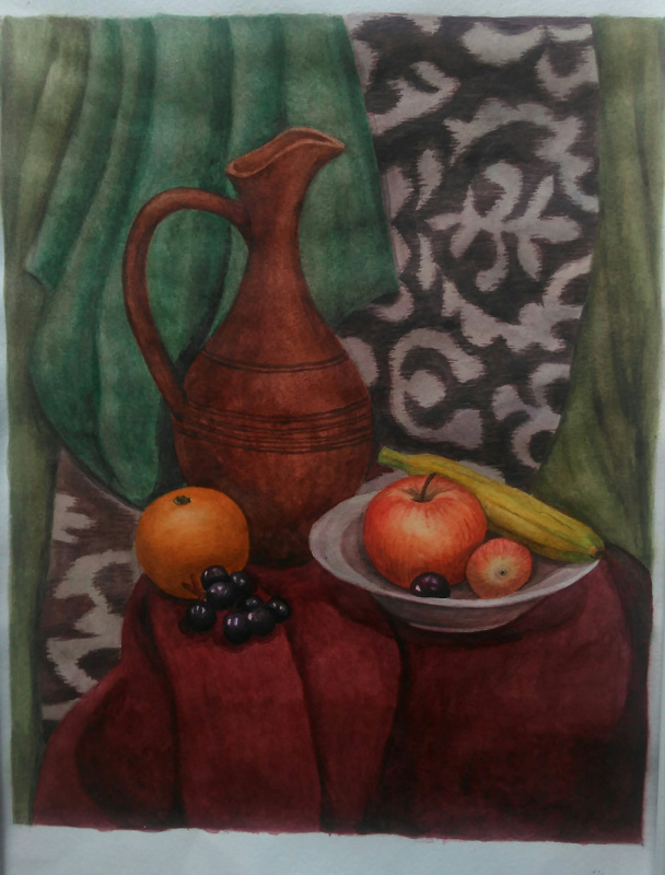 Lyudmila Kachur. Jug and fruit