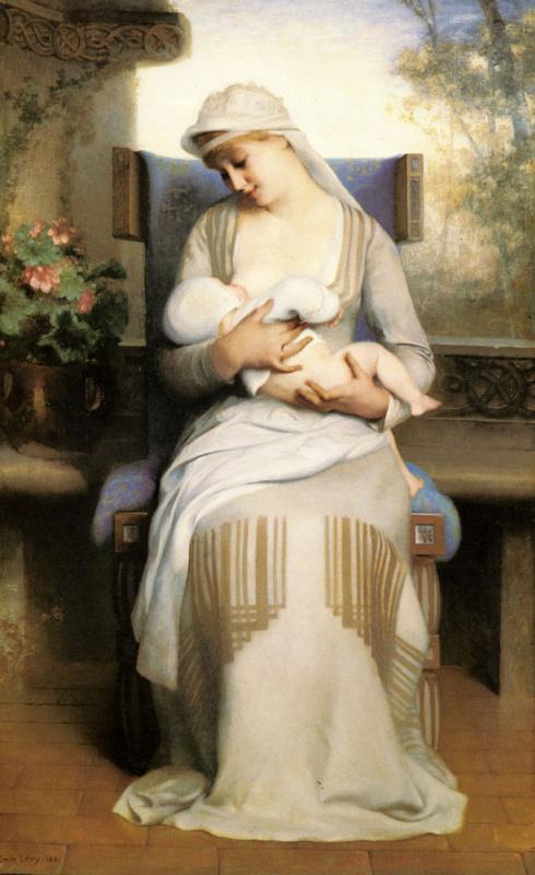 Эмиль Леви. Молодая мать кормит ребенка