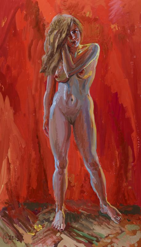 Sergey G. Chernyshev. Model on red background
