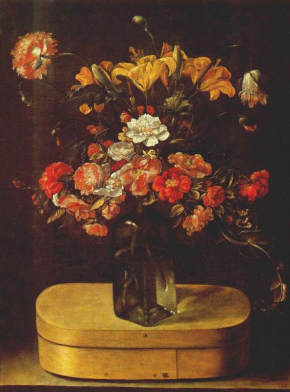 Жак Линар. Ваза с розами и маком