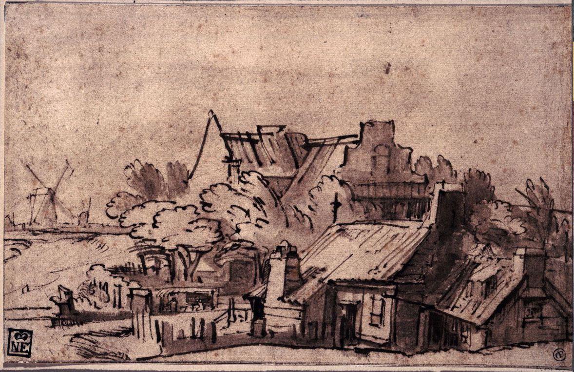 "Rembrandt Harmenszoon van Rijn. Houses on the Bulwark ""de Rose,"" Amsterdam"