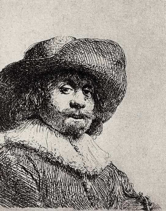 Рембрандт Ван Рейн. Портрет мужчины в широкополой шляпе