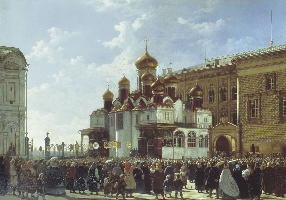 Bodri Petrovich Karl-Friedrich Russia 1812-1894. Religious procession at the Cathedral of the Annunciation in the Moscow Kremlin. 1860