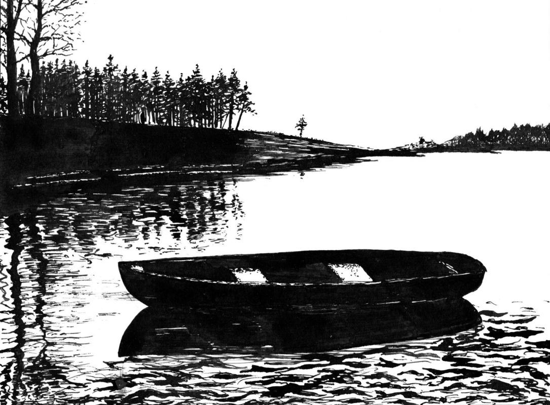 Vladimir Vasilyevich Abaimov. Landscape with a Boat 3