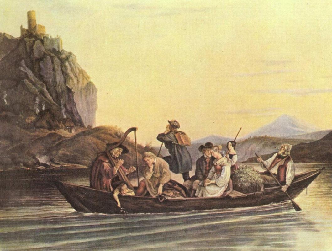 Adrian Ludwig Richter. Crossing the rocks Drakenstein