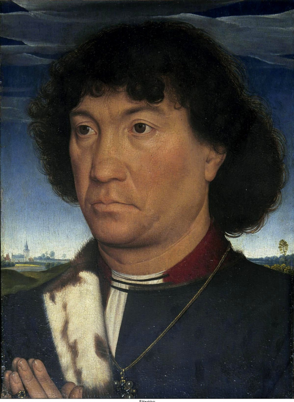 Hans Memling. Portrait of a man from a family of Lespinet or People praying in front of the landscape