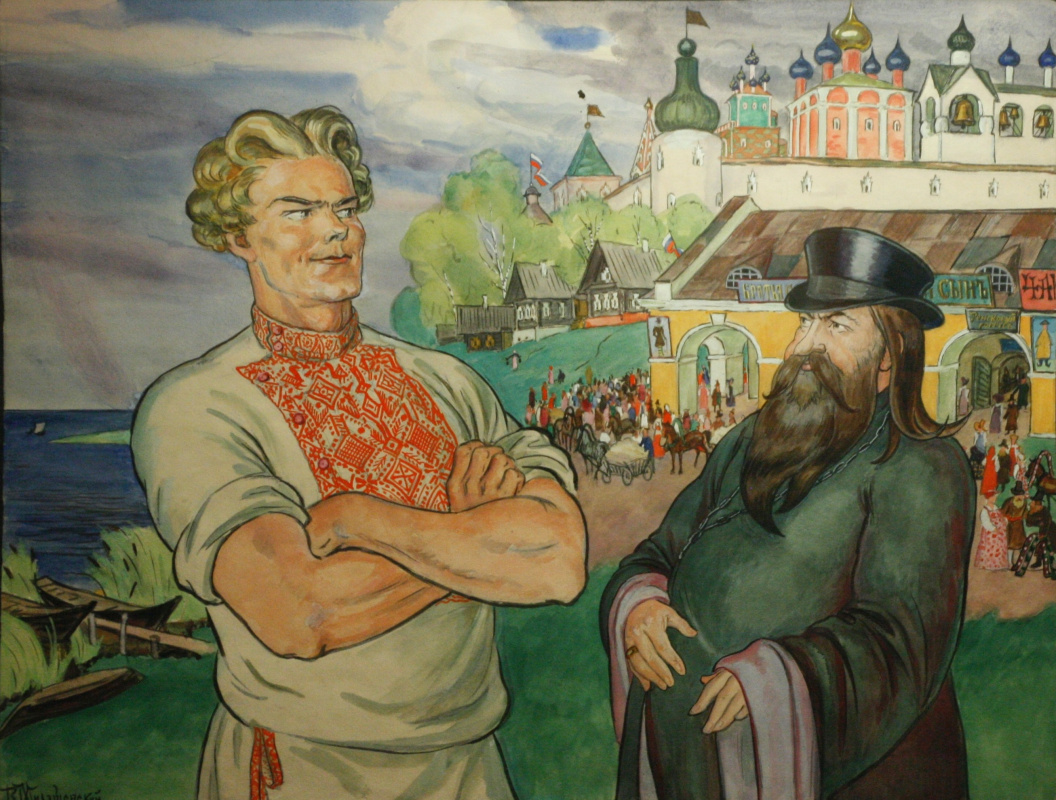 """Vladimir Alexeyevich Milashevsky. Pop and Balda. Illustration for the fairy tale by A.S. Pushkin """"The Tale of Pope and his Worker Balda"""""""