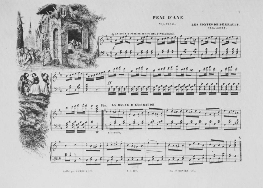 """Шарль-Франсуа Добиньи. Иллюстрация к положенным на музыку сказкам Перро: """"Ослиная шкура"""""""