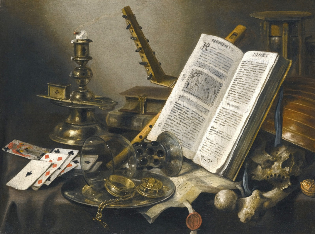 Pieter Claesz. Vanitas. Still life with a lute, an open book, a candle and cards