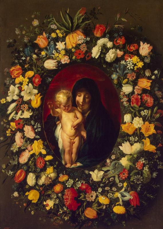 Андрис Йорданс. Мадонна с младенцем в венке из цветов