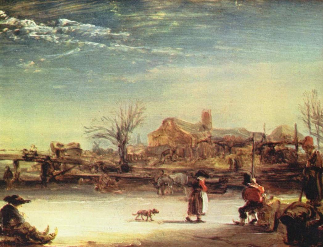 Рембрандт Ван Рейн. Зимний пейзаж