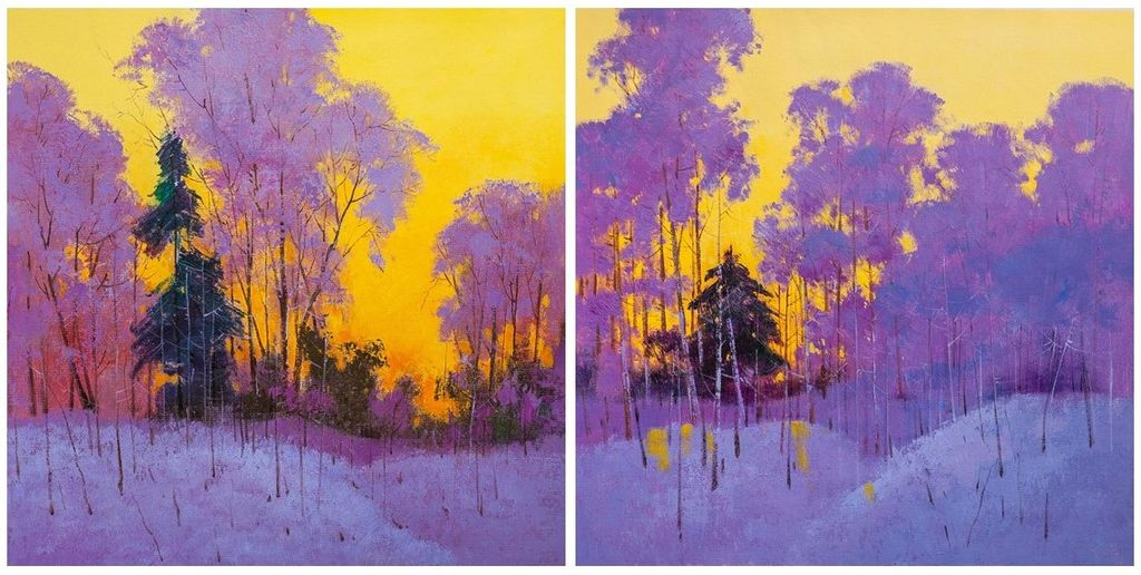 (no name). Golden sunset in the forest. Diptych