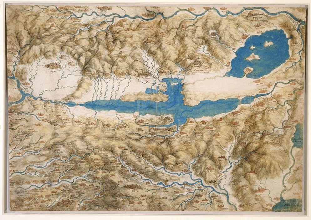 Леонардо да Винчи. Долина Вальдикьяна в Италии с высоты птичьего полета