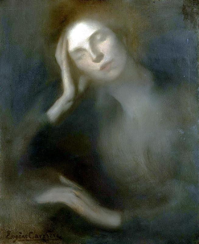 Женщина, облокотившаяся на стол