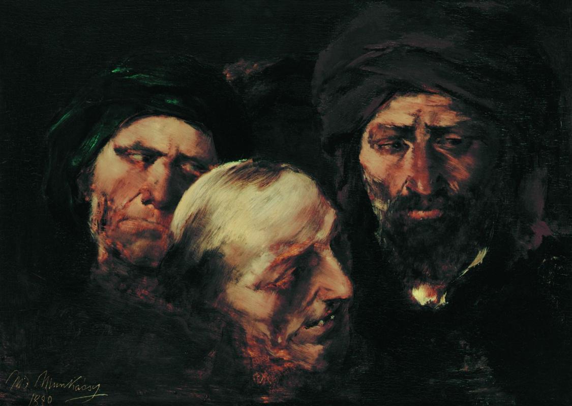 """Михай Либ Мункачи. Трое мужчин. Эскиз для картины """"Христос перед Пилатом"""""""
