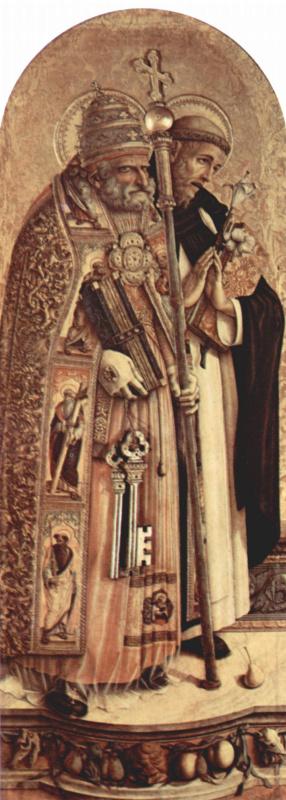 Карло Кривелли. Святой Пётр и Святой Доминик. Алтарный триптих Камерино, левая створка