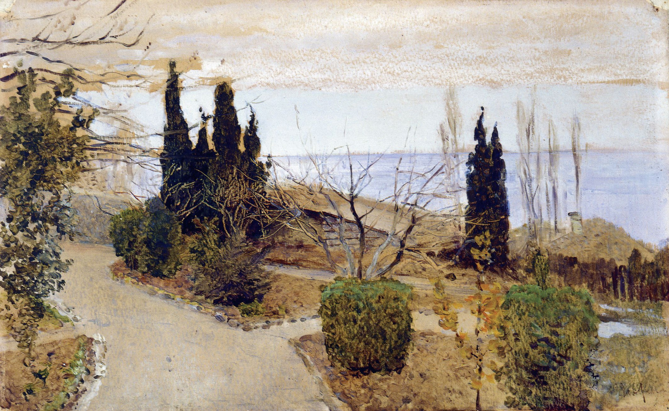 Isaac Levitan. Garden in Yalta. Cypress