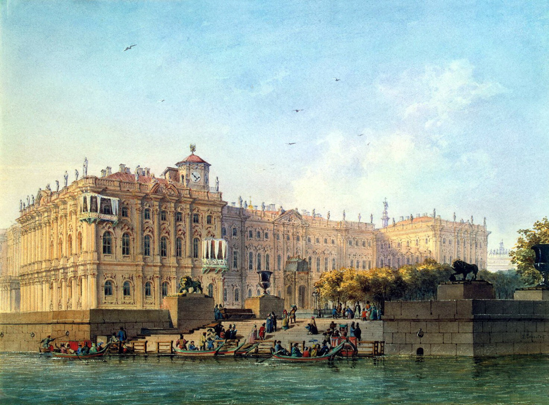 Ludovic Franz Carl Bonstedt. Neva embankment by the Western facade of the Winter Palace
