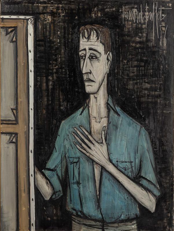 Бернар Бюффе. Автопортрет на черном фоне