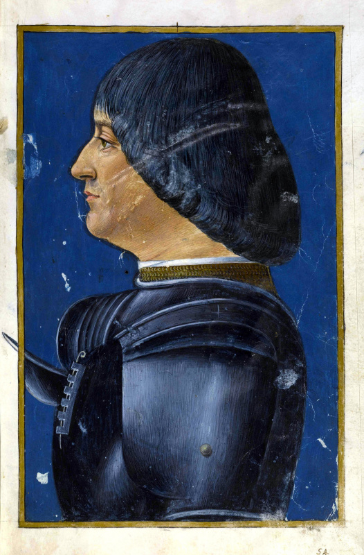 Giovanni Ambrogio de Predis. Portrait Of Ludovico Sforza (Ludovico Moro). Miniature from the Latin grammar of Donatus