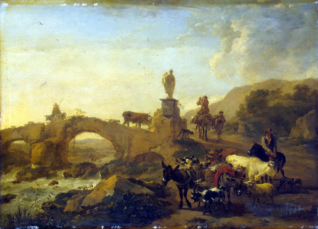 Николас Питерс Берхем. Итальянский пейзаж с мостиком