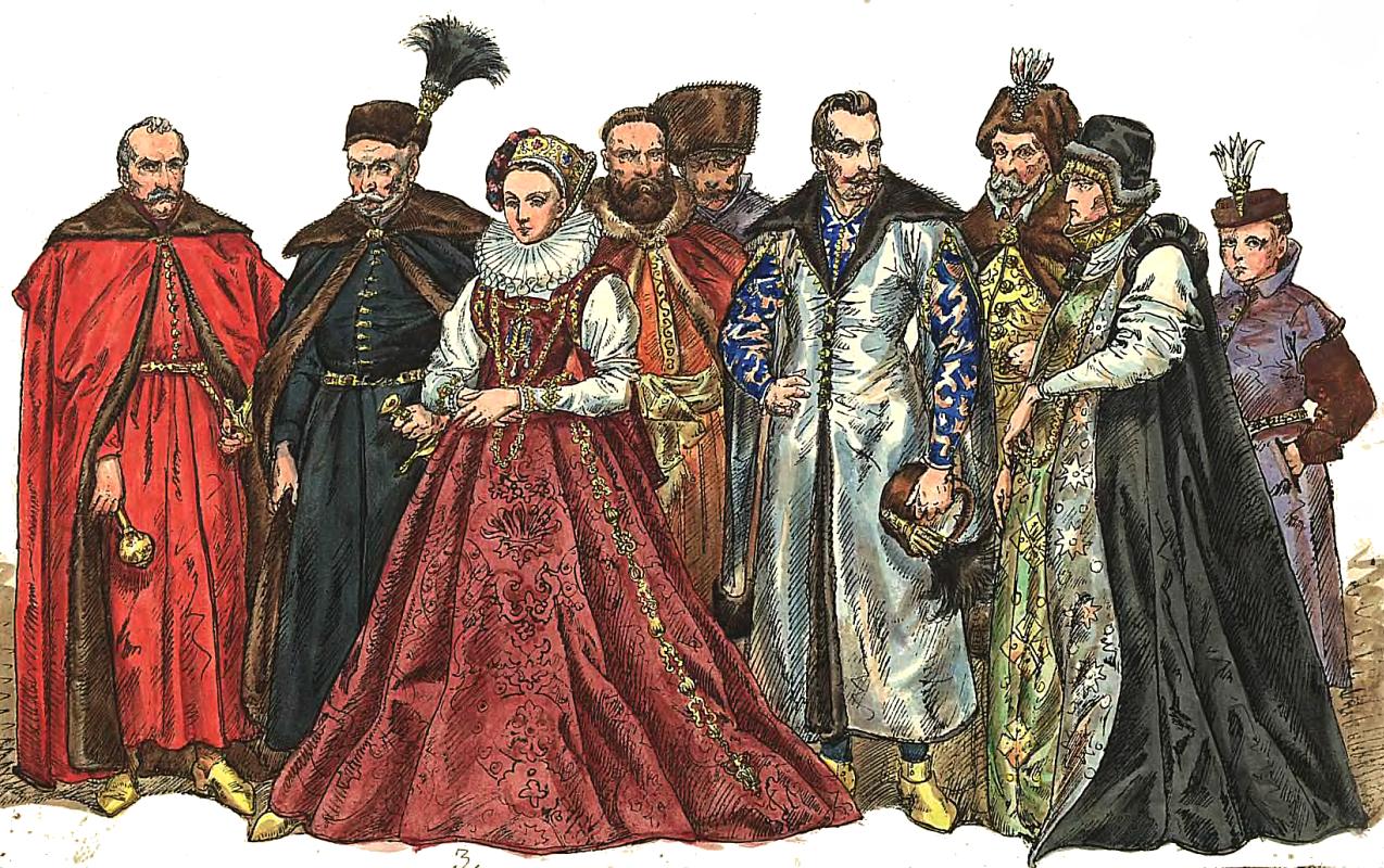 """Ян Матейко. Польские магнаты 1576 - 1586. """"Польская одежда, 1200 - 1795 г.г."""""""
