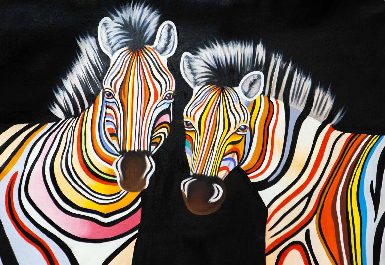 (no name). Multicolored zebras N12