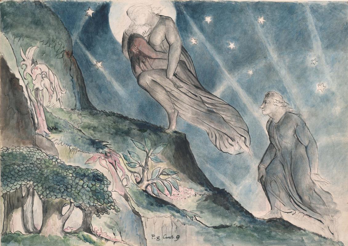 """Уильям Блейк. Лючия несет спящего Данте. Иллюстрации к """"Божественной комедии"""""""