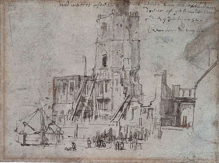 Rembrandt Harmenszoon van Rijn. Ruins of the old town hall in Amsterdam (after the fire)