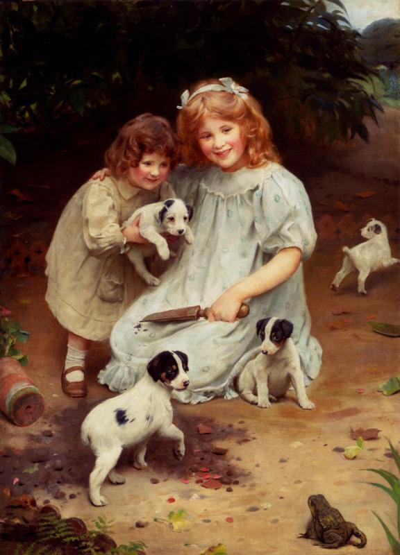 Джон Артур. Две девочки со щенками